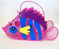 PINK & BLUE METAL FISH BASKET SPRING SUMMER BEACH DECORATION