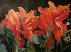 Floral Modern Pinks Reds Greens Contemporary Signed Giclee