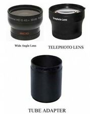 Wide + Tele Lens + Tube bundle for Panasonic DMC-FZ47 DMC-FZ47K DMC-FZ48 FZ48K