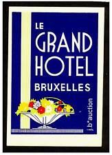 Le grand hôtel Bruxelles Belge * Old Luggage label valise Autocollant