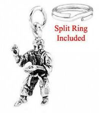 STERLING SILVER MARTIAL ARTS INSTRUCTOR CHARM WITH ONE SPLIT RING