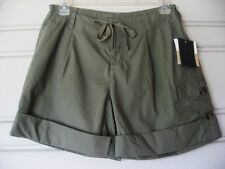 LIZ CLAIBORNE...ARMY GREEN...CARGO ROLL...DRAW STRING...COTTON...SHORTS...NWT 2