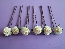 6 hair flowers roses wedding bridal communion pins kirby 10mm many colours