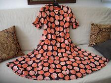 SALE! GIVENCHY En Plus long dress in black orange coral dots Size 8 cotton Vtg