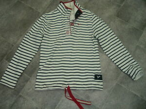 SIZE 10 JOULES IVORY NAVY STRIPE BUTTON NECK SWEATSHIRT