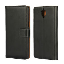 For OnePlus 3, Classic Black Genuine Leather Business Wallet Case Cover Stand