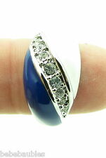 BLUE WHITE RING w/ Crystals Game Day Jewelry Colts Duke Dallas Detroit Kentucky