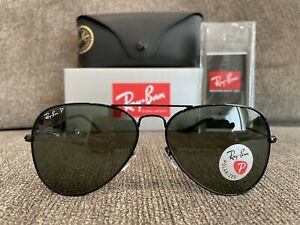 Ray Ban Large Aviator Polarized RB3025 002/58 Aviator Metal Black Sunglasses