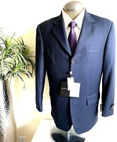 Milano Moda Mens 3 Button Suit Jacket Blazer Blue Notch Collar Wool Feel 38R New