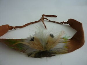 Genuine leather hippie headband from the early 1970s, with real feathers