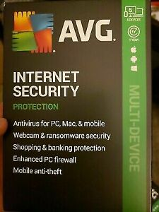 AVG Internet Security 5 Devices 1-Yr Subscription Android|Mac|Windows-RETAIL BOX