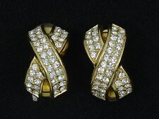 GLAM VINTAGE 70'S SIGNED CHRISTIAN DIOR FAUX DIAMOND EARRINGS ~  7/8""