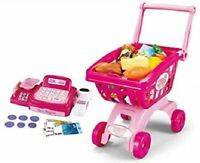 Childrens PINK Cash Till & Shopping Trolley & Fake Food Items Role Play Set 809A