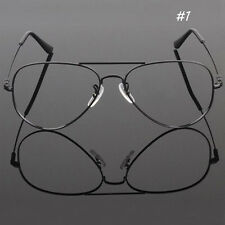 Unisex Retro Big Memory Metal Frame Clear lens Vintage Geek Glasses Vision Care