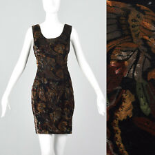 XXS 1970s Floral Velvet Dress Black Autumn Colors Sleeveless VTG Hobble Skirt