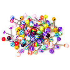50 Mixed Acrylic 316L Surgical Steel Shaft Straight Barbells - Tongue or Nipple