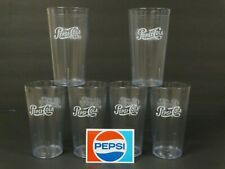Pepsi Clear Drinking Glasses ~ Set of 6 ~ Plastic Acrylic Restaurant ~ Sticker
