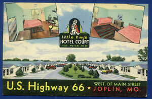 Little King's Hotel Court on Route 66 Joplin Missouri mo linen postcard