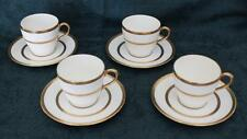SET OF 4 ANTIQUE ROYAL DOULTON DEMITASSE CUPS & SAUCERS GOLD BANDS RA6954