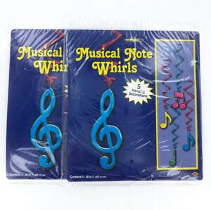 Music Note Whirls Hanging Decorations - School Music Room, Birthdays, Lot 2 pks