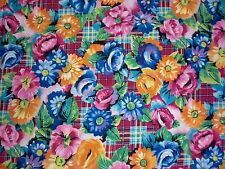 ANNE ERDE FOR JUST IN MATERIALS DESIGNS Apparel Fabric Bright Floral Plaid 3 Yds