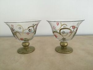 Pfaltzgraff Holiday Gold Footed Dessert Glass - Set of 2 - Holly & Berry Design