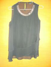 New Look Black Sleeveless Top With Beaded Neckline Size 10