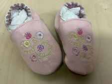 Robeez 18-24 Month Girls White/Pink Leather Slippers