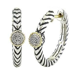 Andrea Candela 18k Gold & Silver Diamond Round Design Hoop Earrings ACE274/05