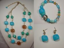 Necklace 3pc Set Czech Glass Aqua NEW Vintage Chunky Beads Las Mujeres Collar