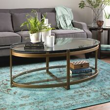 Oval Tempered Glass Metal Coffee Table Modern Home Living Room Furniture Gold