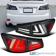 For 06-08 IS250 IS350 Black Full LED Tail Lights+Trunk Brake Lamps Left+Right
