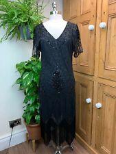 VINTAGE BLACK 20S FLAPPER LONG BEADED FRINGED COCKTAIL EVENING DRESS BNWT 10/12
