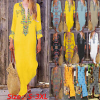 Fashion Women Print V-neck Side Slit Bohemian Dresses Shift Boho Long Maxi Dress