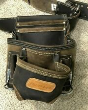 NEW - AWP 223-cu inch Premium Leather Construction Tool Belt Pocket Pouch Bag
