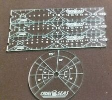 Cruel Seas movement set firing template  move and torpedo markers clear acrylic