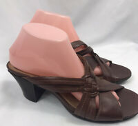 """Clarks Artisan Womens Slide Sandals ~ Size 9M Brown Leather 3"""" Stacked Heel Mule"""