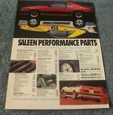 "1991 Saleen Mustang Parts Vintage Ad ""Saleen Performance Parts"""