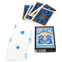 Bicycle Dragon Back Blue playing cards Deck Standard index Poker Magic Art USA