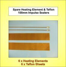6x Nuevo - 100 Mm De Repuesto elementos de calefacción y Teflon Tiras Para impulso Selladoras