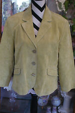 Coldwater Creek Fully Lined Green Leather Jacket 3/4 Length Sleeve Sz PXL L#136