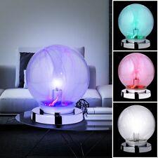 RGB LED table lamp living room lighting switchable glass ball light chrome new