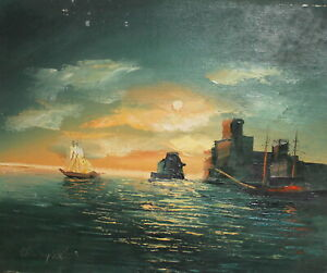 Impressionist oil painting seascape ships signed
