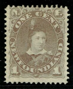 1880 Newfoundland SG44 1c Dull Grey-Brown Fine Mounted Mint Cat. £50.00