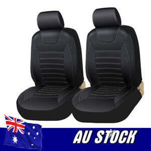 2x Black PU Leather Car Seat Covers w/ Headrests Cover for All Car SUV Truck AU