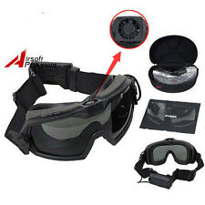 Tactical Anti-Fog Dust Safety Regulator Goggles Glasses with Fan & 2 Lens Black