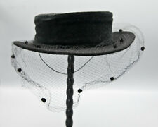 Vintage Whittall and Javits Black Mahara Wool Hat with Veil 1980s