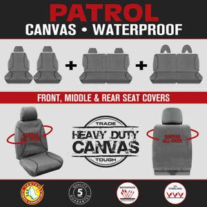 Nissan Patrol Y61 GU OCT/2004-2016 TRADIES Grey Canvas Seat Covers