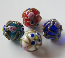 20pcs 12mm Round Lampwork Glass Beads - Wedding Cake Style Mixed Colour