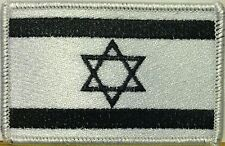 ISRAEL JEW Flag Iron-On Tactical Patch Black & White Version, White Border #42